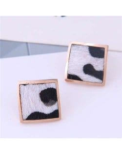 High Fashion Leopard Prints Design Square Shape Titanium Steel Earrings - White