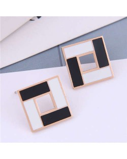White and Black Contrast Colors Design Square Design Korean Fashion Titanium Steel Earrings