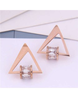 Cubic Zirconia Bead Decorated Triangle Design Love Theme Korean Fashion Titanium Steel Earrings - Transparent