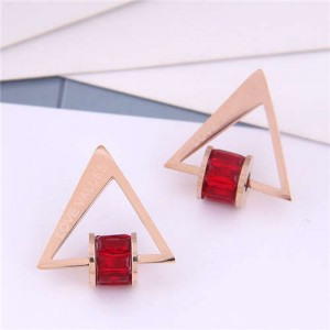 Cubic Zirconia Bead Decorated Triangle Design Love Theme Korean Fashion Titanium Steel Earrings - Red