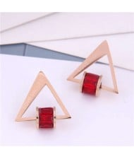 Cubic Zirconia Bead Decorated Triangle Design Love Theme Korean Fashion Titanium Steel Earrings - Red