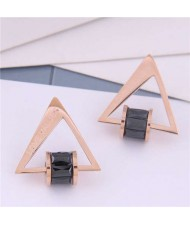 Cubic Zirconia Bead Decorated Triangle Design Love Theme Korean Fashion Titanium Steel Earrings - Black