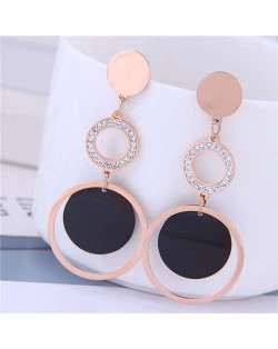 Dangling Rings Combo Design Rose Gold Color Women Titanium Steel Earrings - White