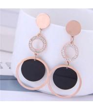 Dangling Rings Combo Design Rose Gold Color Women Titanium Steel Earrings - White