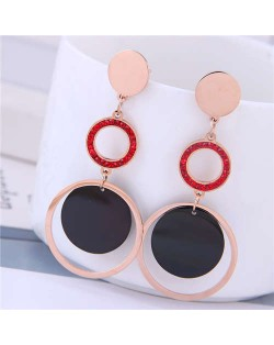 Dangling Rings Combo Design Rose Gold Color Women Titanium Steel Earrings - Red