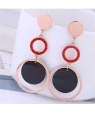 Dangling Rings Combo Design Rose Gold Color Women Titanium Steel Earrings - Red