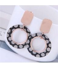 Round Dots Printing Bold Hoop Design Women Titanium Steel Earrings