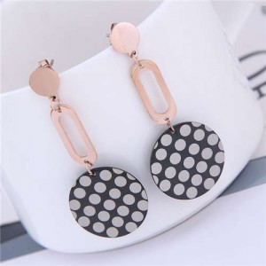 Round Dots Dangling Round Design Street Fashion Women Titanium Steel Earrings