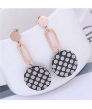 Round Dots Dangling Round Design Street Fashion Women Titanium Steel Earrings