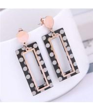 Round Dots Dangling Oblong Design Street Fashion Women Titanium Steel Earrings