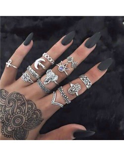 Vintage Folk Elements Design Street Fashion Multiple Alloy Rings Set