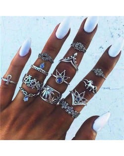 Vintage Floral Elements Design Street Fashion Multiple Alloy Rings Set