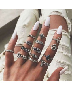 Vintage High Fashion Assorted Elments Multiple Alloy Rings Set