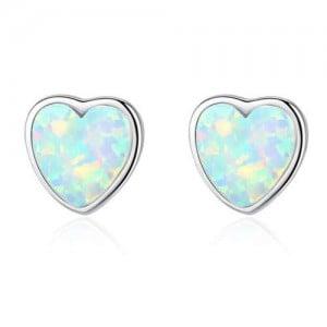 Luxurious Gem Heart Design 925 Sterling Silver Earrings - White