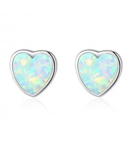 Luxurious Gem Heart Design 925 Sterling Silver Earrings - White