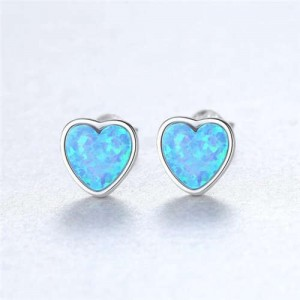 Luxurious Gem Heart Design 925 Sterling Silver Earrings - Blue