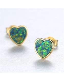 Luxurious Gem Heart Design 925 Sterling Silver Earrings - Green
