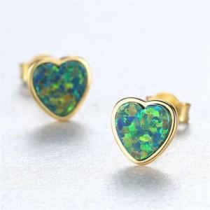 Luxurious Gem Heart Design 925 Sterling Silver Earrings - Green