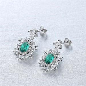 Luxurious Gem Inlaid Royal Fashion Design 925 Sterling Silver Women Earrings - Green