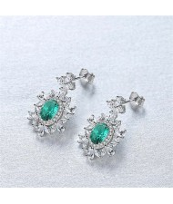 Luxurious Gem Inlaid Royal Fashion Design 925 Sterling Silver Women Earrings - Green
