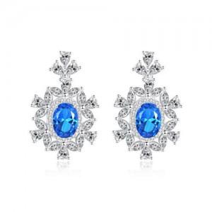Luxurious Gem Inlaid Royal Fashion Design 925 Sterling Silver Women Earrings - Blue
