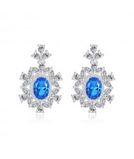 Luxurious Gem Inlaid Royal Fashion Design 925 Sterling Silver Women Earrings - Blue