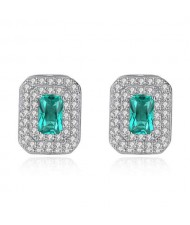 Green Crystal Inlaid with Rhinestones Embellished Design 925 Sterling Silver Luxurious Style Earrings