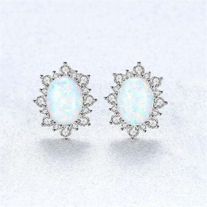 Austrilian Gem Inlaid Elegant Design 925 Sterling Silver Luxurious Style Women Earrings - White