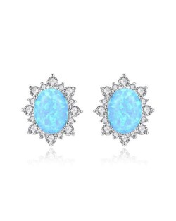 Austrilian Gem Inlaid Elegant Design 925 Sterling Silver Luxurious Style Women Earrings - Blue