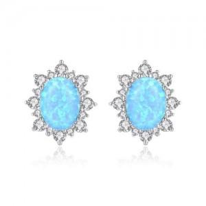 Austrilian Gem Inlaid Elegant Design 925 Sterling Silver Luxurious Style Women Earrings - Blue