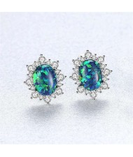 Austrilian Gem Inlaid Elegant Design 925 Sterling Silver Luxurious Style Women Earrings - Green