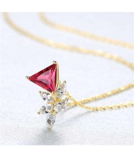 4 Colors Available Crystal Cubic Zirconia Embellished Flower Pattern 925 Sterling Silver Necklace