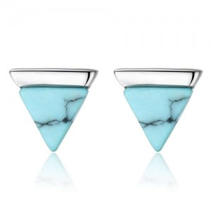 Artificial Turquoise Graceful Triangle Design 925 Sterling Silver Women Earrings