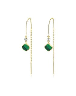 Square Malachite Inlaid Chain Tassel Design 925 Sterling Silver Women Earrings