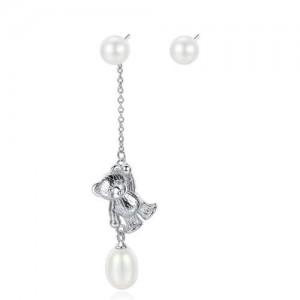 Natural Pearl with 925 Sterling Silver Dangling Bear Asymmetric Design Women Earrings