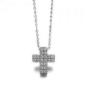 Austrian Rhinestone Inlaid Cross Pendant Necklace - Platinum