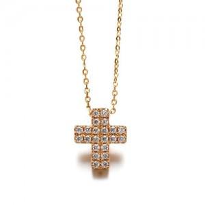 Austrian Rhinestone Inlaid Cross Pendant Necklace - Rose Gold