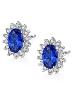 Sapphire Gem Embellished 925 Sterling Silver Floral Pattern Design Elegant Women Earrings
