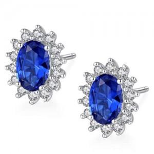 Sapphire Gem Embellished 925 Sterling Silver Floral Pattern Design Elegant Women Earrings