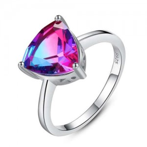 Luxurious Style Rainbow Stone Inlaid Three Claw 925 Sterling Silver Women Ring