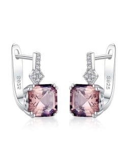 Square Shape Morganite Embellished Graceful 925 Sterling Silver Women Earrings