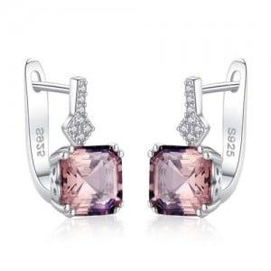 Square Shape Morganite Embellished Graceful 925 Sterling Silver Women Earrings