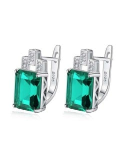 Imported Emerald Inlaid Elegant Square Design 925 Sterling Silver Earrings
