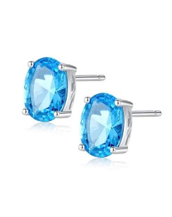 Aquamarine Gem Inlaid Elegant Oval Shape Design 925 Sterling Silver Earrings