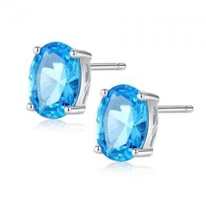 Aquamarine Gem Inlaid Elegant Oval Shape Design 925 Sterling Silver Earrings