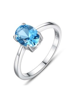 Oval Shape Aquamarine Gem Inlaid Four Claw 925 Sterling Silver Ring