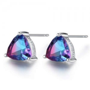 Rainbow Stone Inlaid Elegant Triangle Shape Design 925 Sterling Silver Earrings