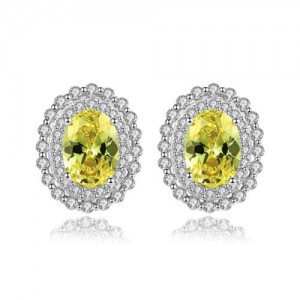 Olive Color Gem Inlaid Rhinestone Embellished Elegant Oval Shape Design 925 Sterling Silver Earrings
