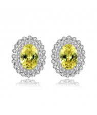 Olive Color Gem Inlaid Rhinestone Embellished Elegant Oval Shape Design 925 Sterling Silver Earrings