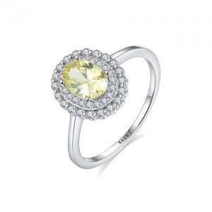 Olive Color Gem Inlaid Rhinestone Embellished Graceful 925 Sterling Silver Ring